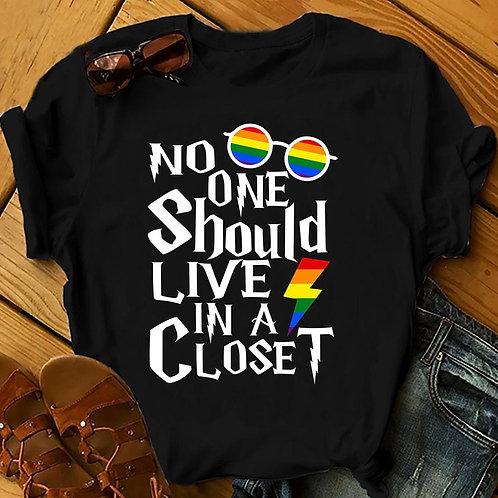 No One Should Live in a Closet Rainbow T Shirt
