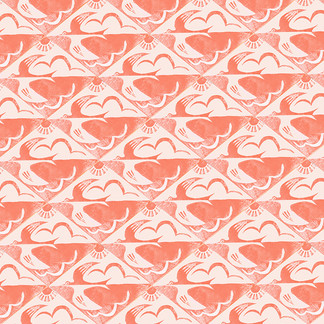 Linocut bird repeat pattern