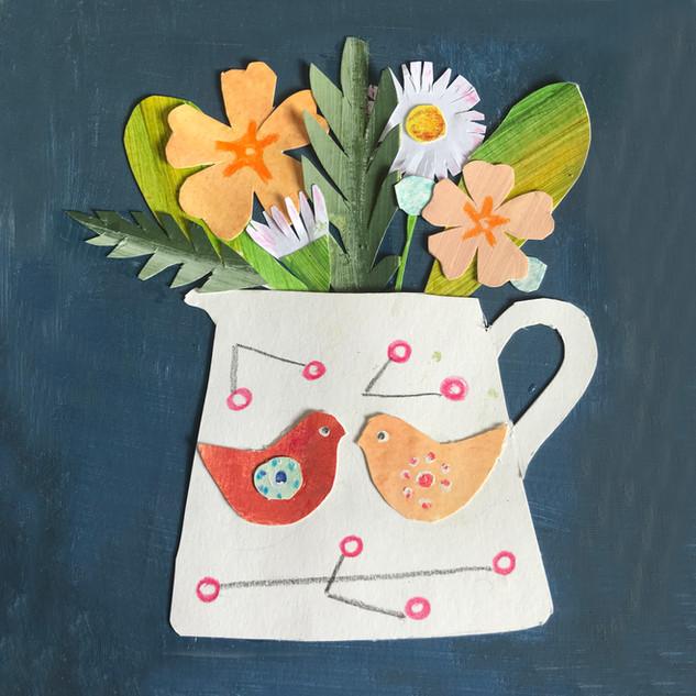 Spring Flowers in A Milk Jug