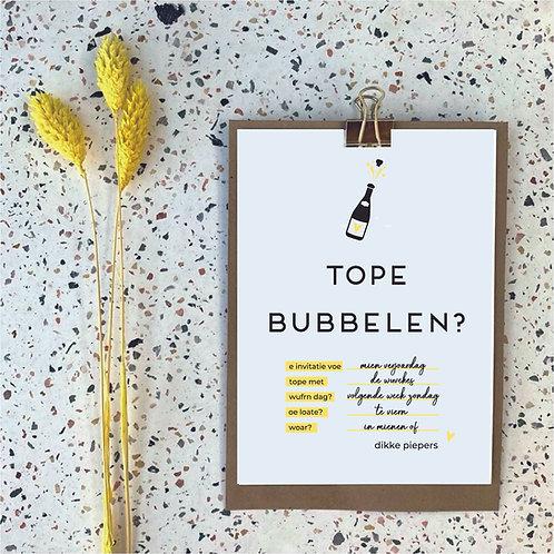 Tope bubbelen - uitnodigingen