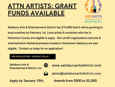 Salisbury Arts & Entertainment District Announces COVID19 Grants for Area Artists