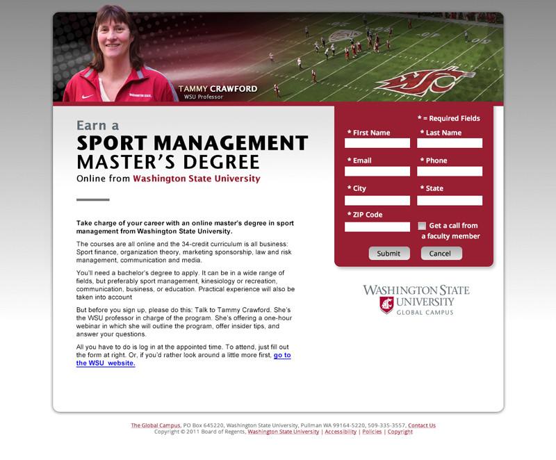 Sport Management Landing Page