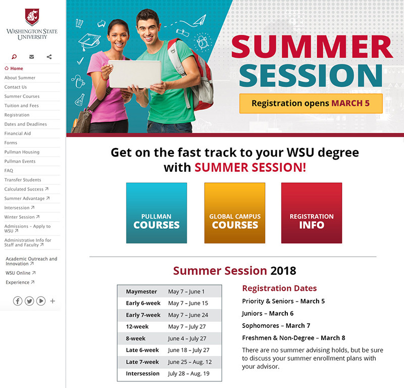 Summer Session Home page