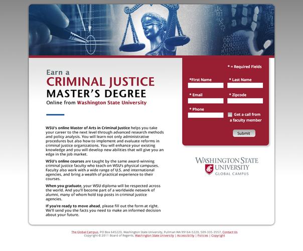 Criminal Justice Landing Page