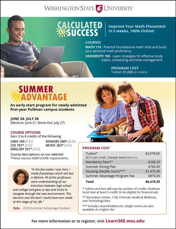 Summer Advantage and Calculated Success poster