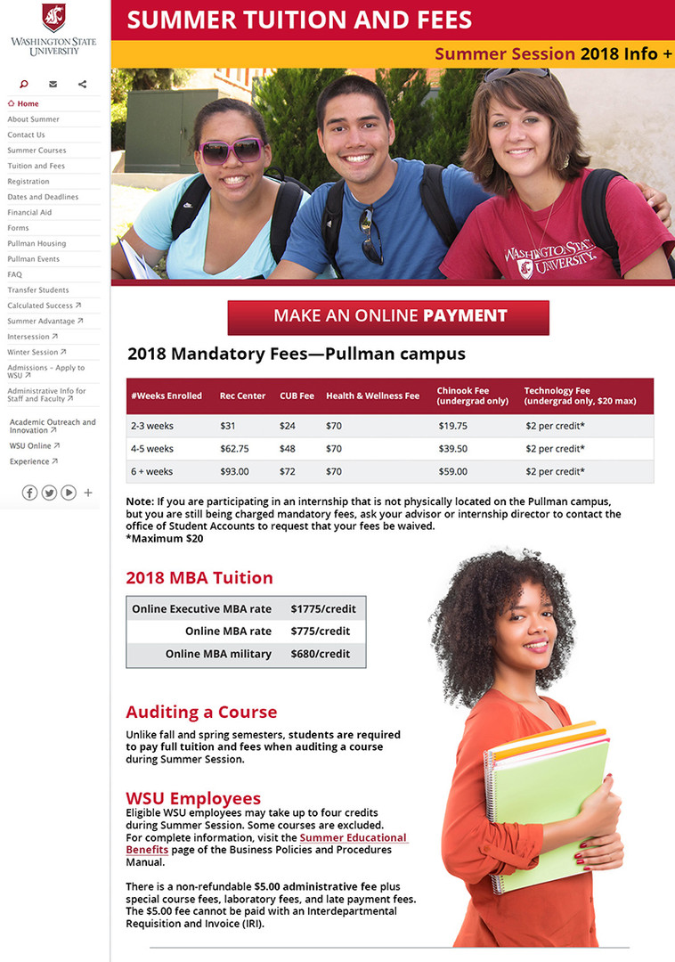 Summer Session Tuition page