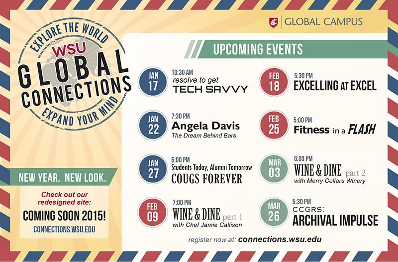 Global Connection retro postcard