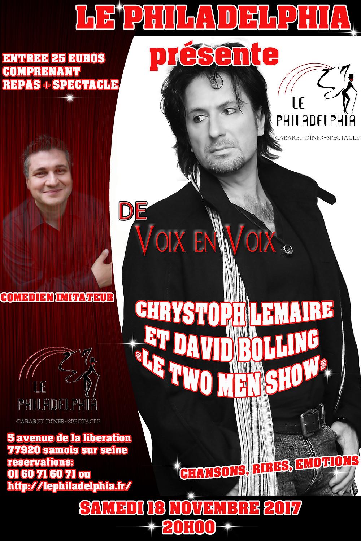 Le Two Men Show Samedi 18 Novembre 2017 au Philadelphia à Samois sur Seine