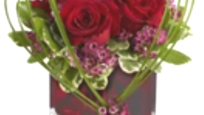 composition verre roses