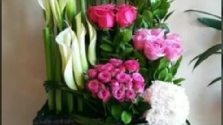 Panier rose et blanc