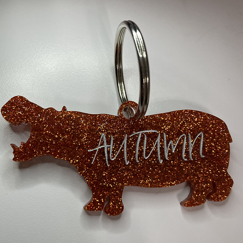 Hippo Keychains with Custom Name