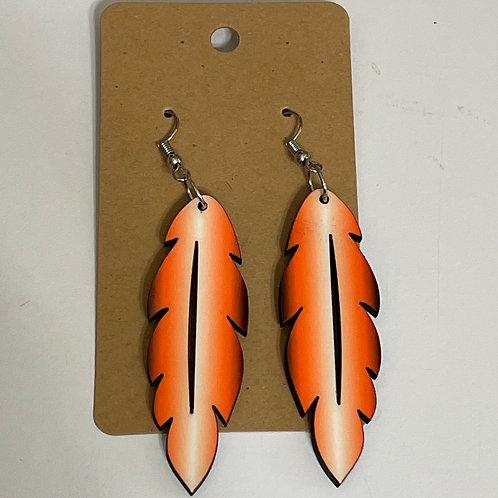 Orange Hombre Feather Earrings