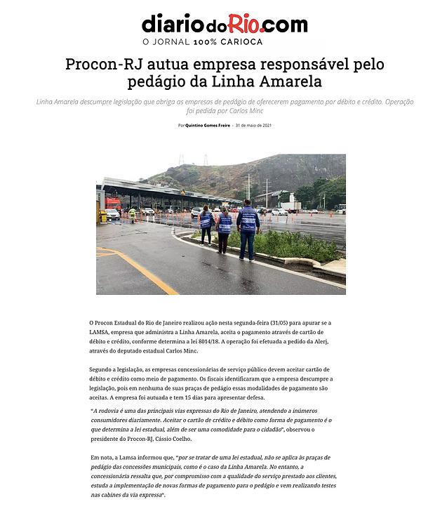 Diário do Rio 31.5ProconRJ autua empresa responsável pelo pedágio da Linha Amarela(cita