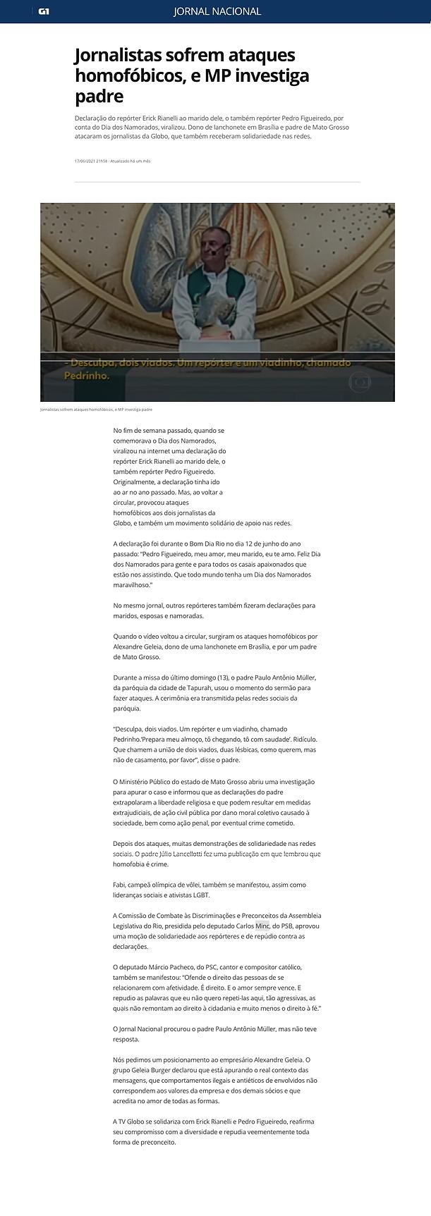 ornal Nacional (17_6_2021)-Jornalistas sofrem ataques homofóbicos, e MP investiga padre(
