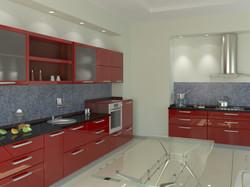 кухня красная машина