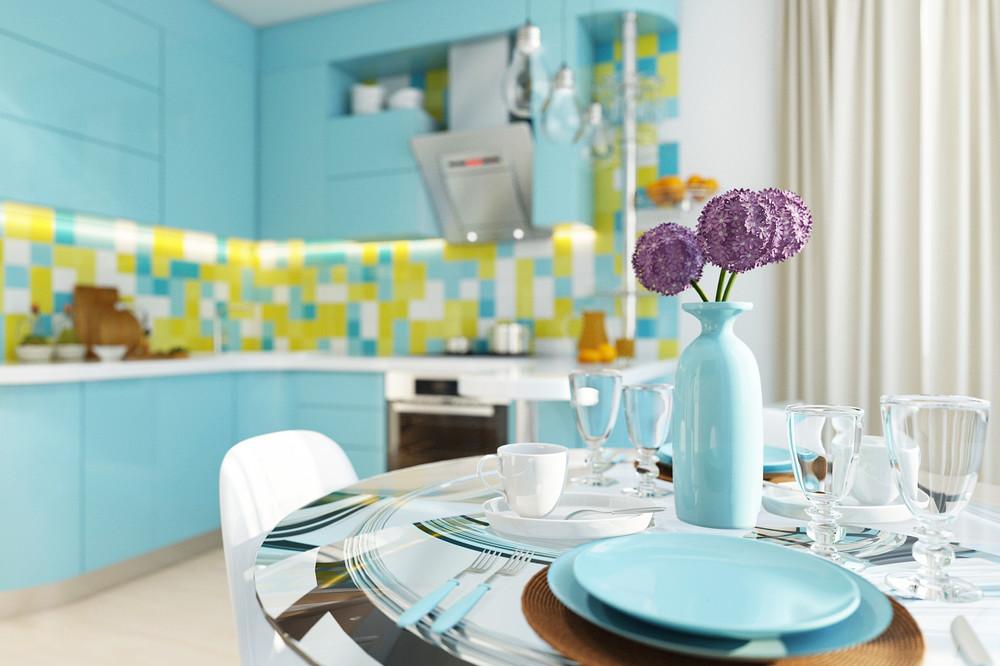 кухонный гарнитур бирюзового цвета.jpg