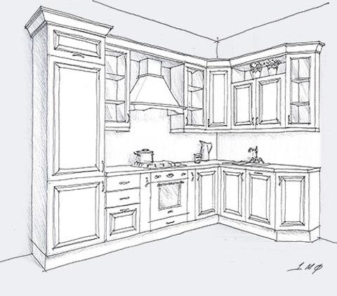 кухня из массива Лота угловая