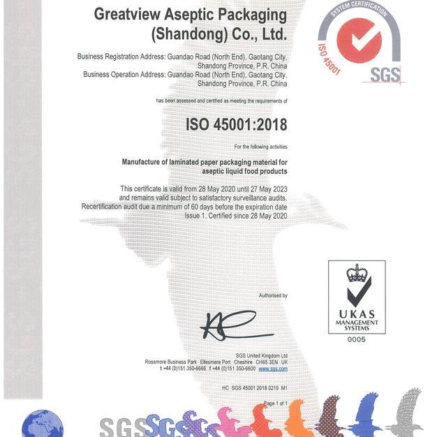 شهادة السلامة المهنية 45001