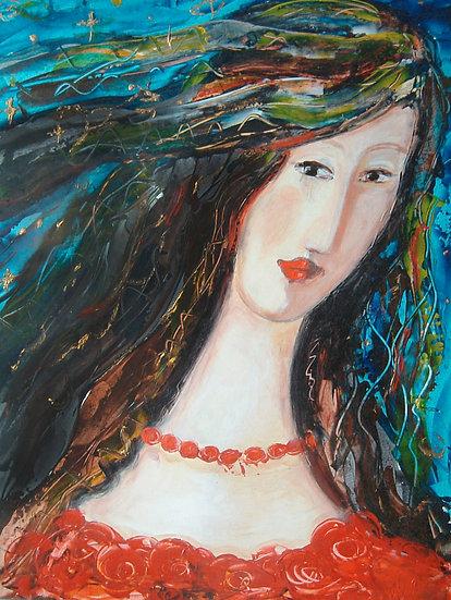 Frau mit Einhorn in den Haaren als Download