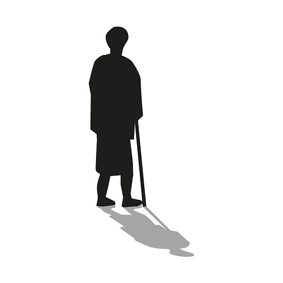 Person-Silhouette-Schwarz mit Schatten / 07 als Download