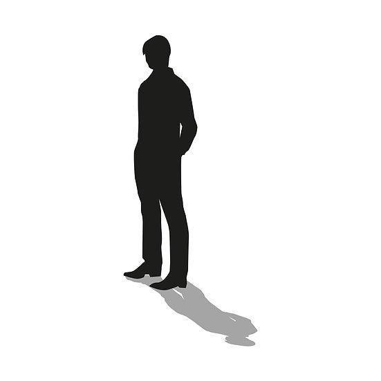 Person/ Silhouette, Schwarz mit Schatten 03 als Download