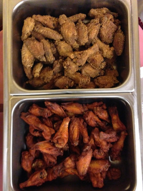 Plain and Hot Chicken Wings.