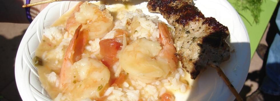 Pork Skewer. Shrimp Rice.