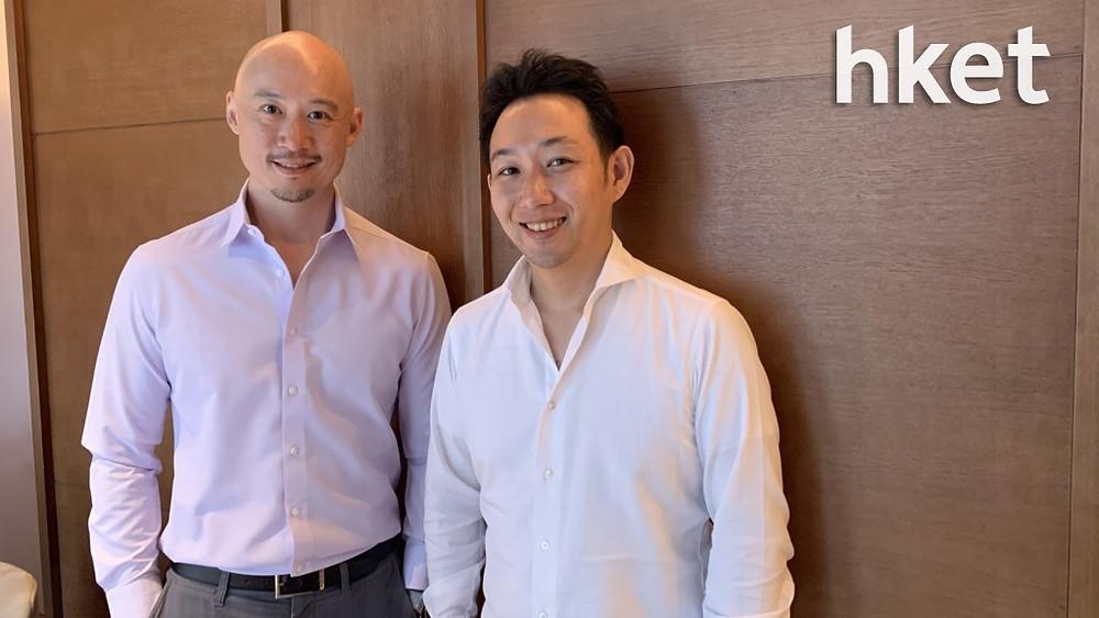 AnyMind Group大中華區董事總經理錢鵬(左)及財務總監大川敬三(右)稱,為迎合市場的變化,公司將着力發展「直接面向消費者」業務。(楊匡然攝)