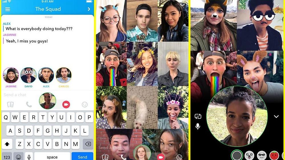 Snapcha宣布新增群組視訊聊天(Group Video Chat),可同時讓最多16人進行視像通訊;若只用語音對話,更可容納達32人。