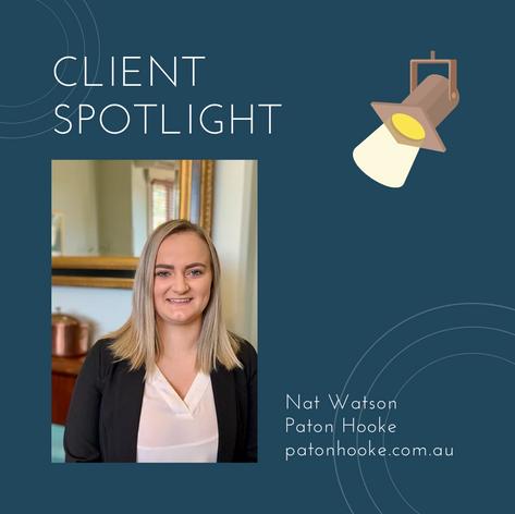 Client spotlight - Nat Watson Paton Hook