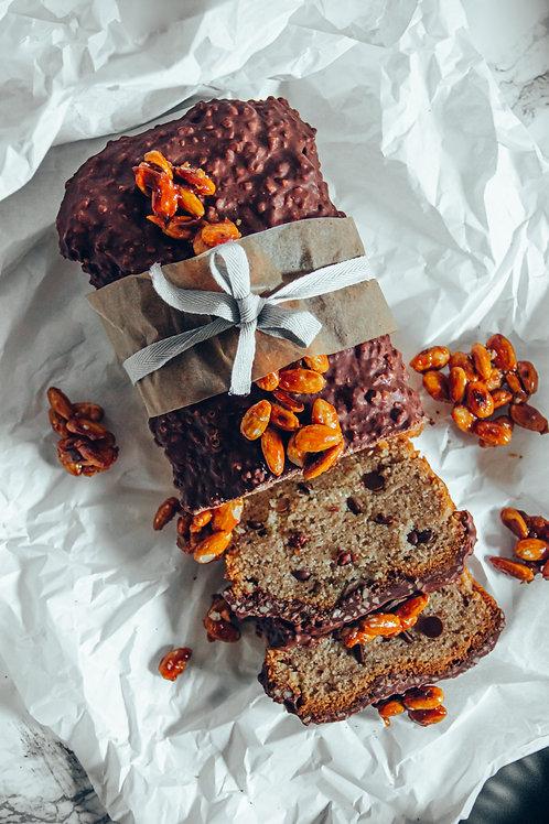 Mylk Chocolate rocher and caramelised almonds banana cake
