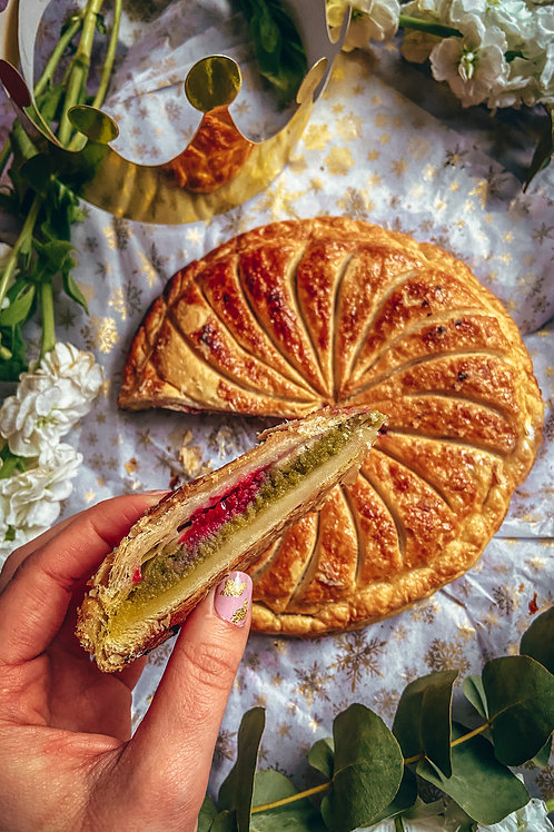 Pistachio white chocolate and raspberry Galette des Rois
