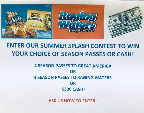 Enter our Summer Splash contest to win $300 incash or theme parkpasses!