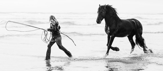 Black and white beach shoot