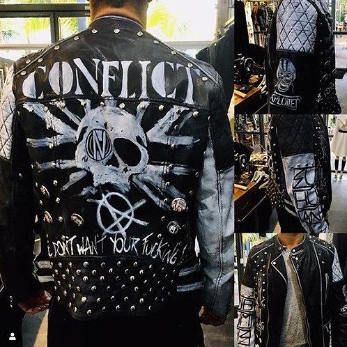 Mens Custom Leather Punk Cafe Racer Style Jacket