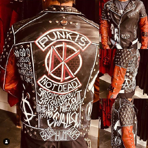 Mens Hand Painted Custom Punk Leather Jacket