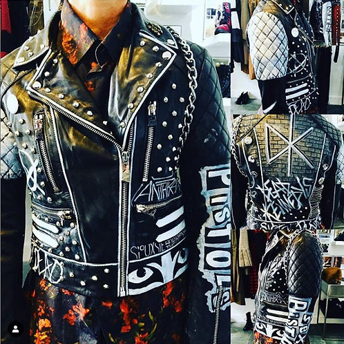 Womens Custom Hand Painted Punk Leather Jacket