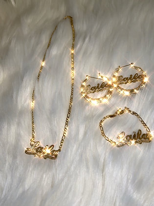 14K Gold Plated Chain,Earrings & Bracelet(Kids)