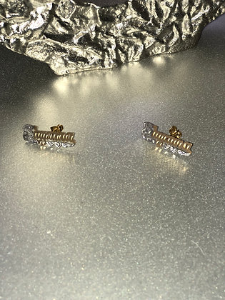 14K Gold Plated Stud Earrings & Single Plated Chain(Kids)