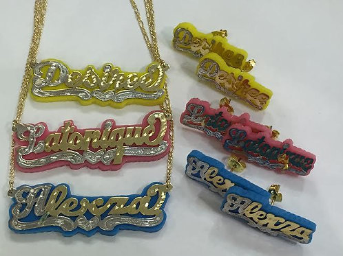 Color Name Chain & Color Stud Earrings