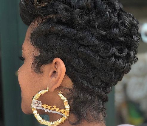 14K Gold Plated Name Earrings