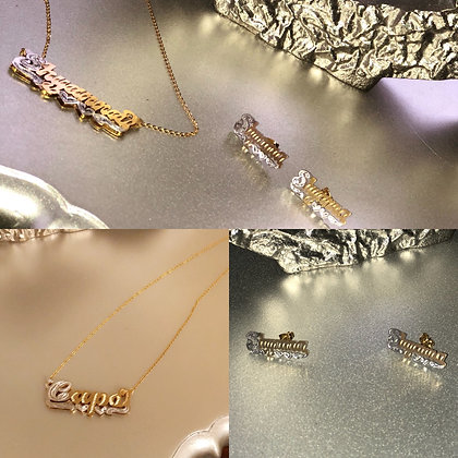 14K Gold plated name plate earring & Double plate name chain