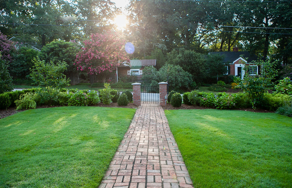 brick path & columns, boxwood hedge