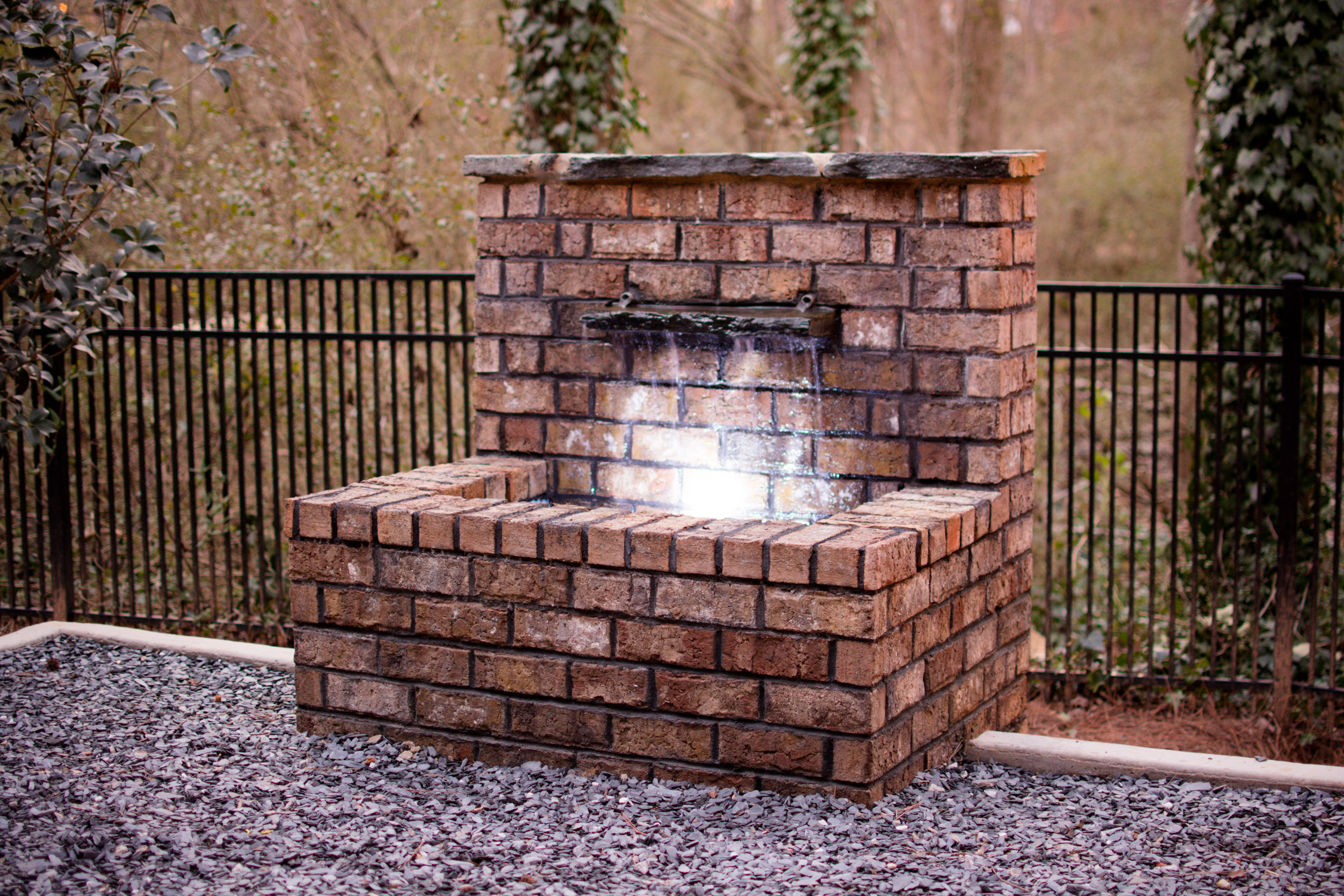 custom brick water feature