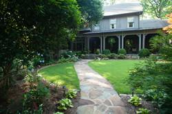 English garden with stone path