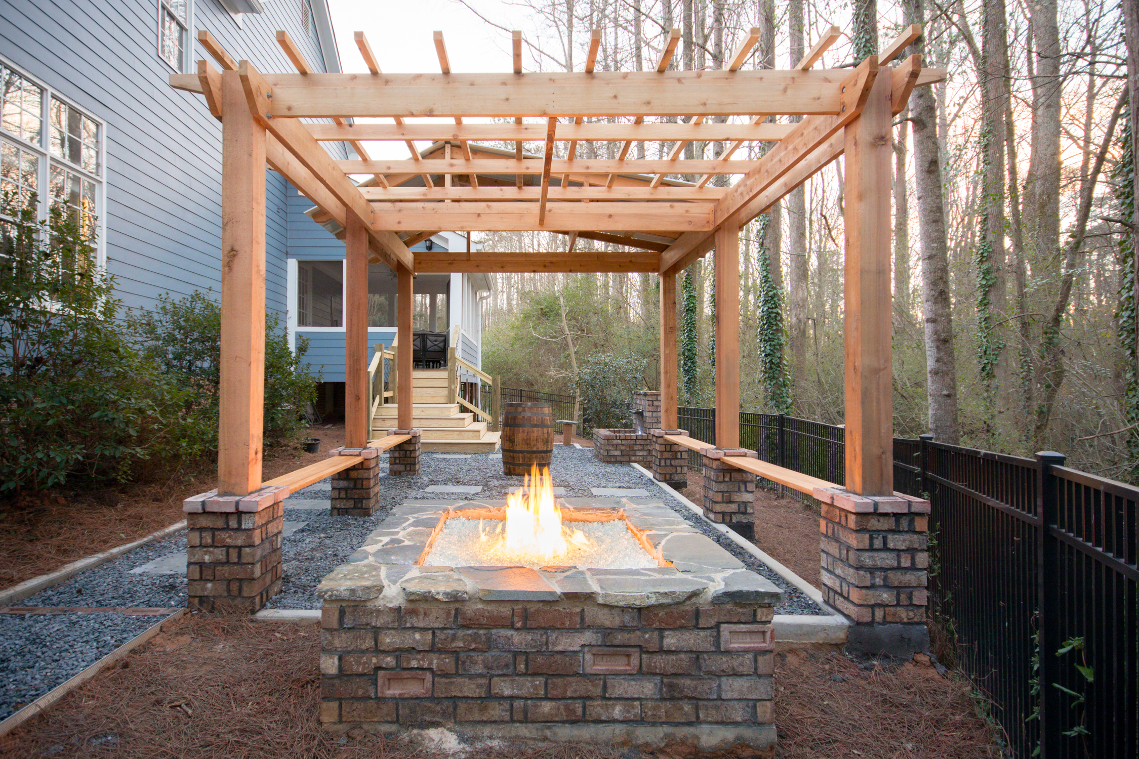 brick fire pit & cedar pergola