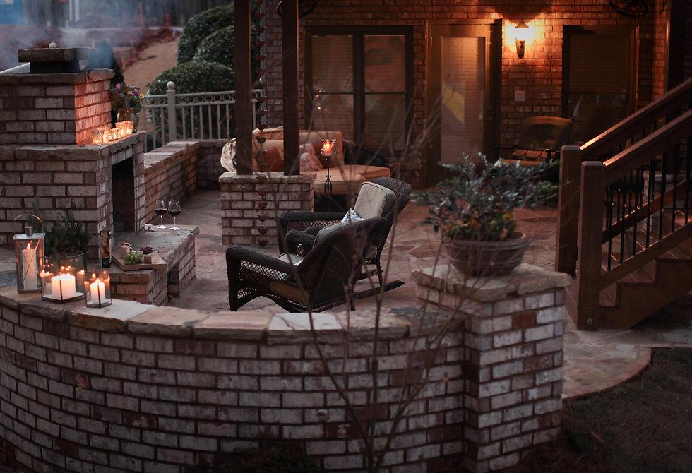 stone cap, deck extension, outdoor fireplace, outdoor lighting