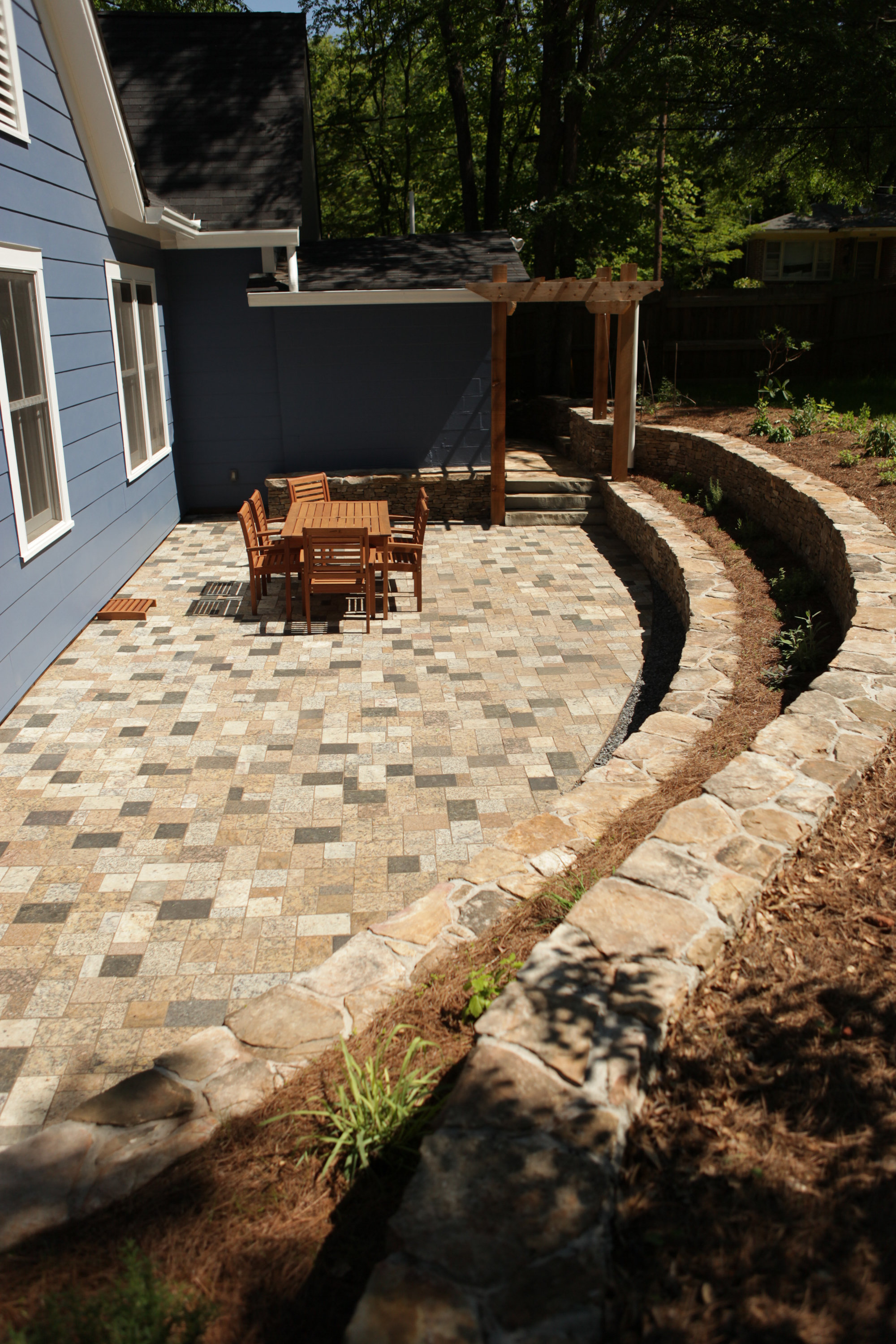 sunken patio + terraced walls