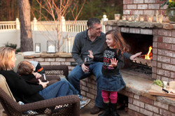 brick/stone outdoor fireplace