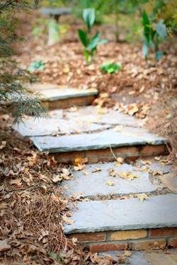 stone path with brick steps